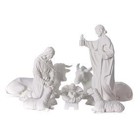 Crèche Noël 7 santons marbre reconstitué 30cm s1