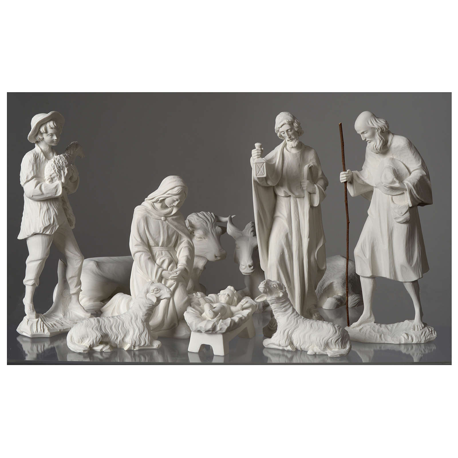 Complete Nativity Set Of 9 Pieces In Carrara Marble Dust