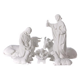 Complete Nativity set of 7 pieces in Carrara marble dust, 30cm s1