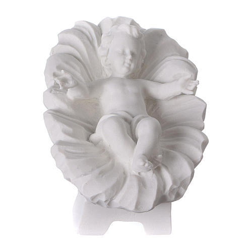 Complete Nativity set of 7 pieces in Carrara marble dust, 30cm 3