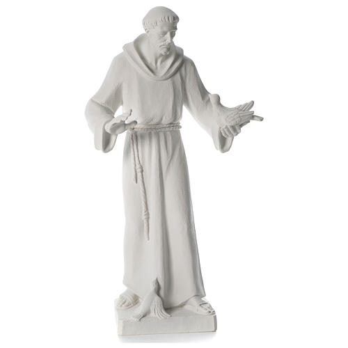 Saint Francis holding doves in synthetic marble 80 cm 1