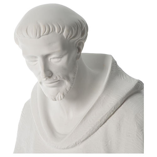 Saint Francis holding doves in synthetic marble 80 cm 2