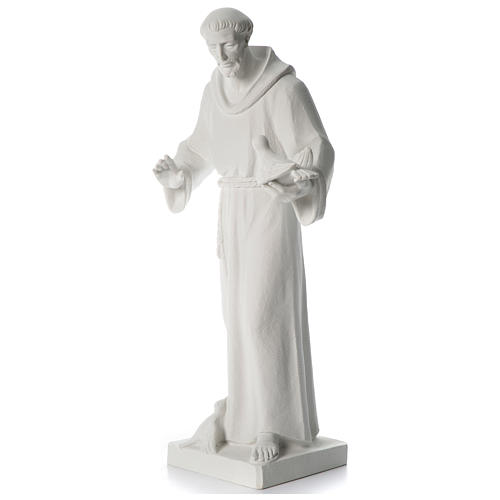 Saint Francis holding doves in synthetic marble 80 cm 3