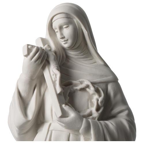 Estatua Santa Rita polvo de mármol blanco 39 cm 2