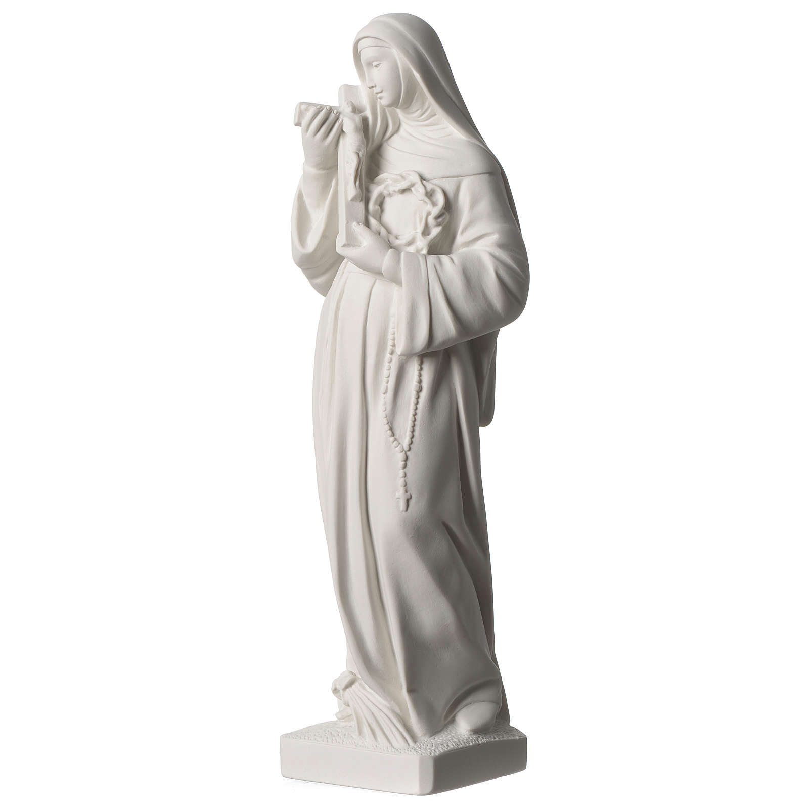 Statue Sainte Rita poudre de marbre blanc 39 cm 4