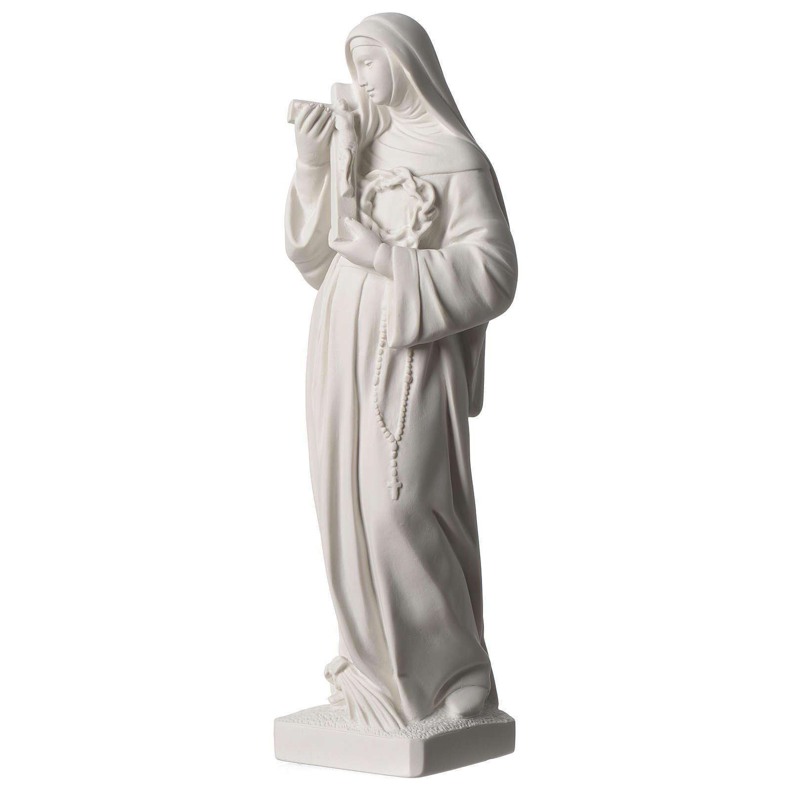 Statua Santa Rita polvere di marmo bianco 39 cm 4