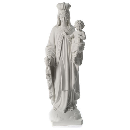 Our Lady of Mount Carmel in white synthetic marble 80 cm 1
