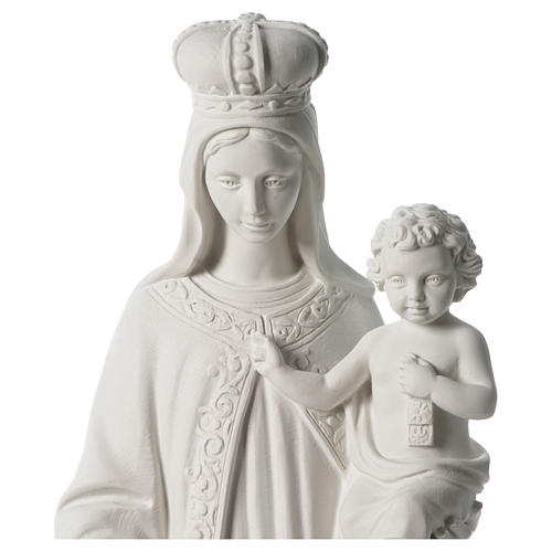 Our Lady of Mount Carmel in white synthetic marble 80 cm 2