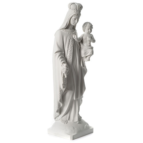 Our Lady of Mount Carmel in white synthetic marble 80 cm 4