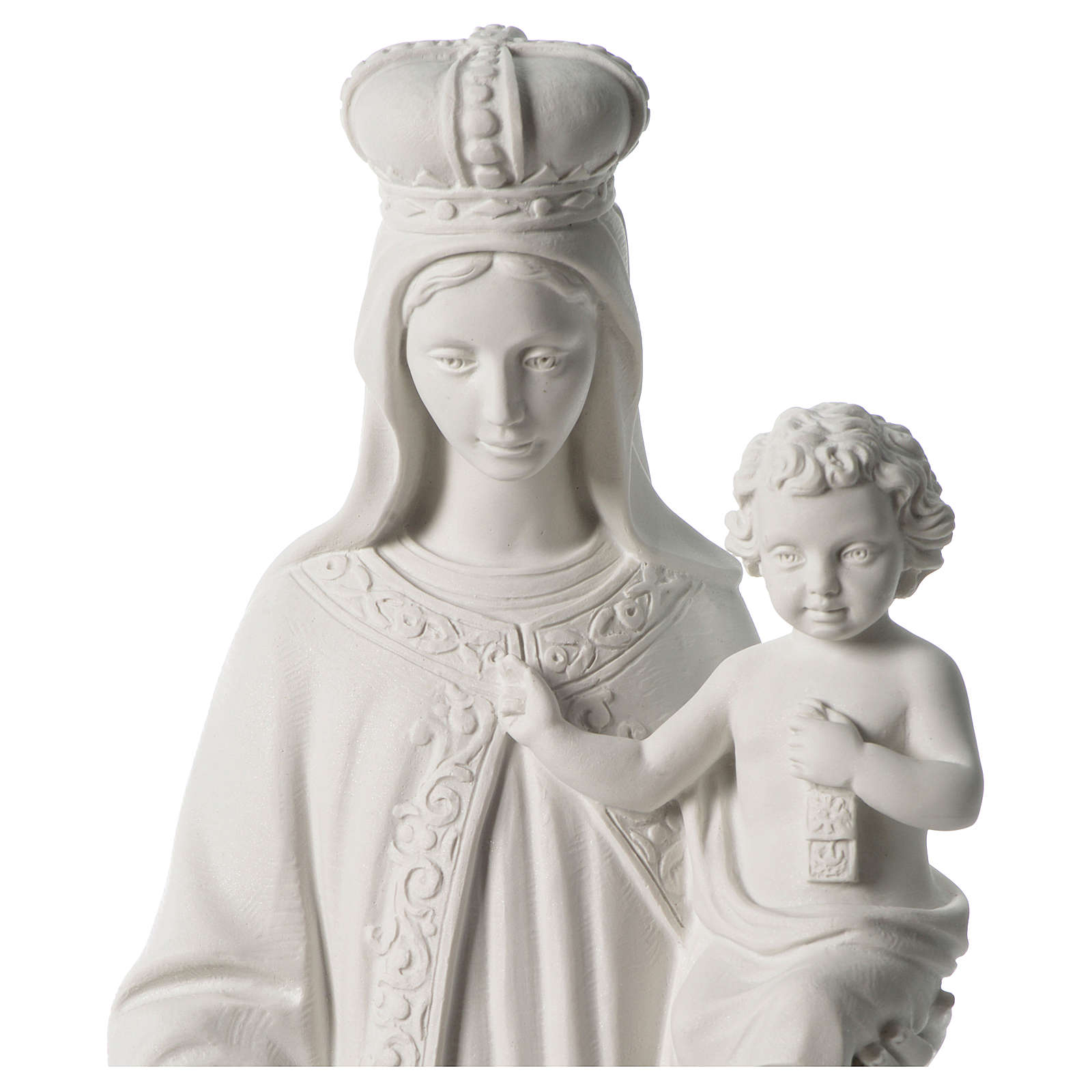 Our Lady of Mount Carmel white composite marble statue 31 inches 4