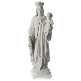 Our Lady of Mount Carmel white composite marble statue 31 inches s1