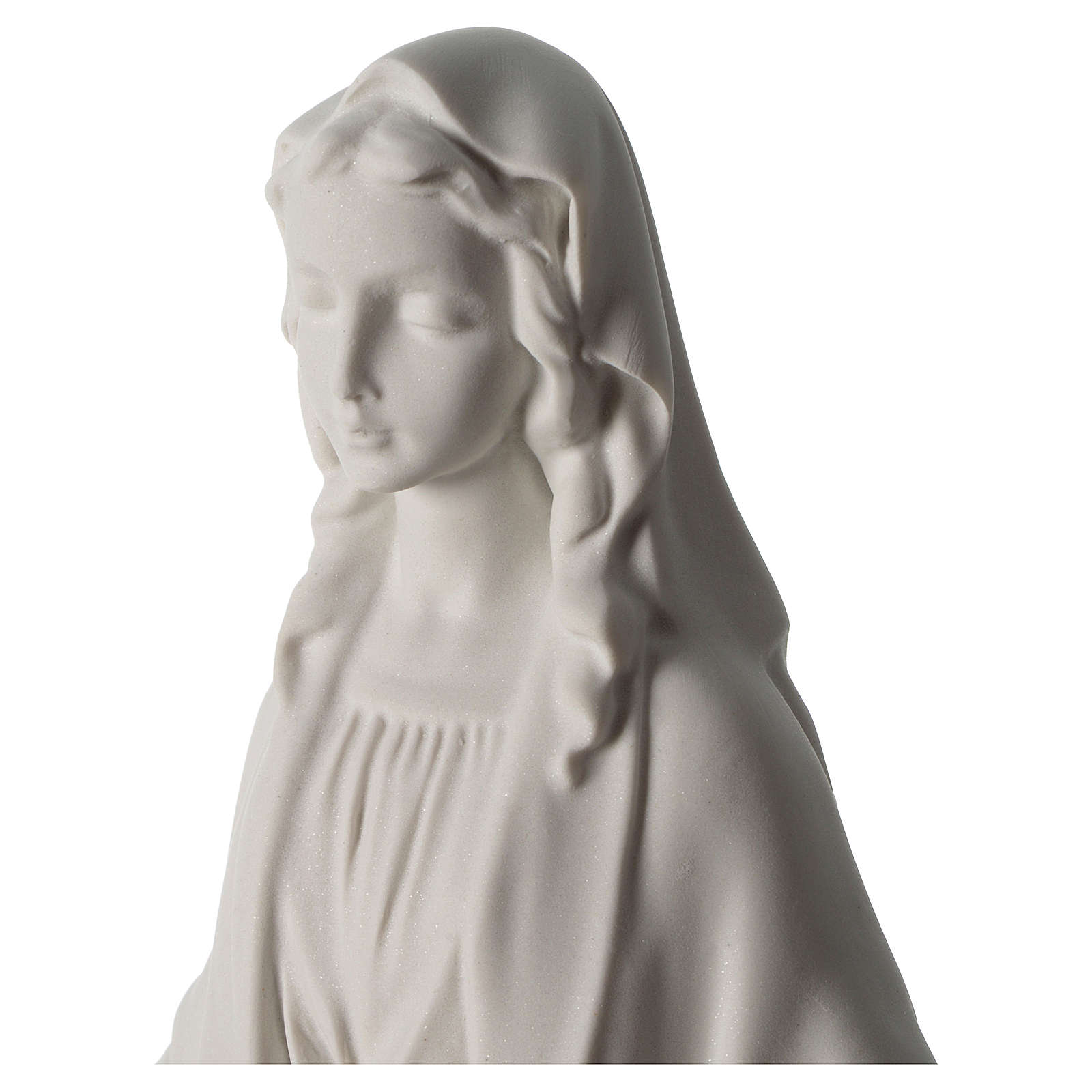 Our Lady of Miracles statue in Carrara marble dust 40 cm 4