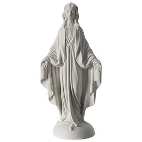 Our Lady of Miracles statue in Carrara marble dust 40 cm s1