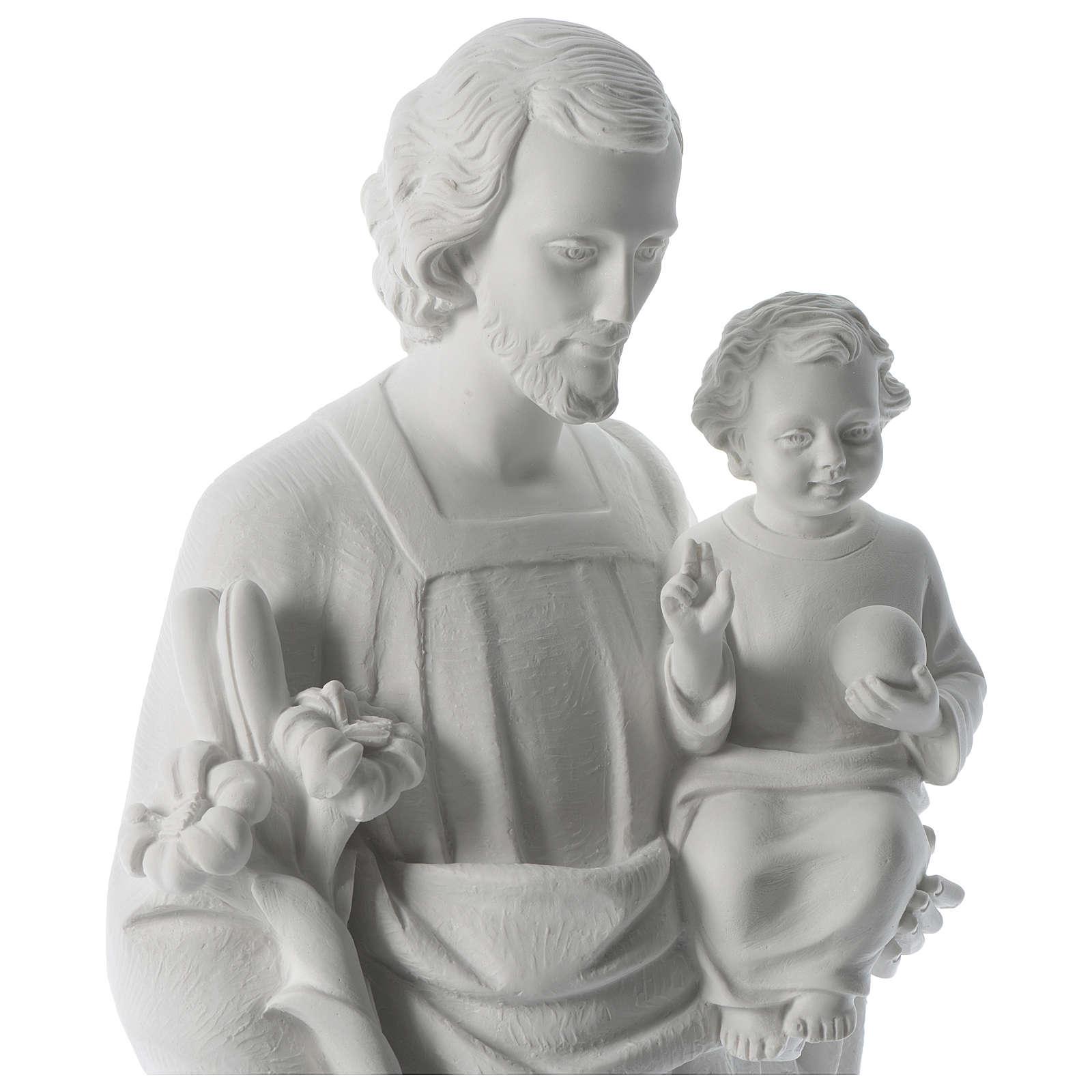 Saint Joseph poudre de marbre blanc 80 cm 4