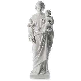 Imagens em Pó de Mármore de Carrara: São José pó de mármore branco 80 cm