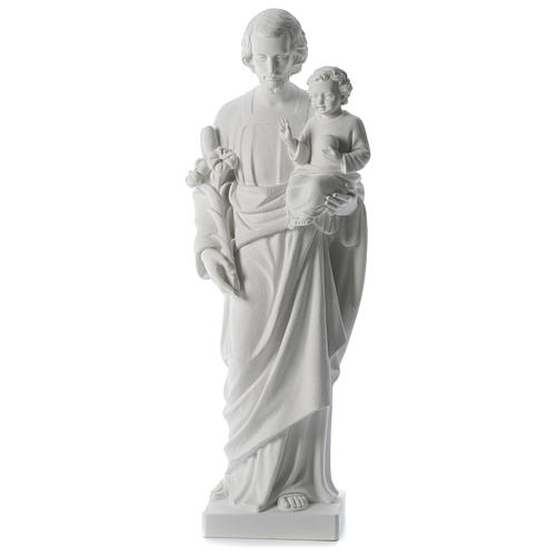 Saint Joseph white composite marble statue 31 inches 1