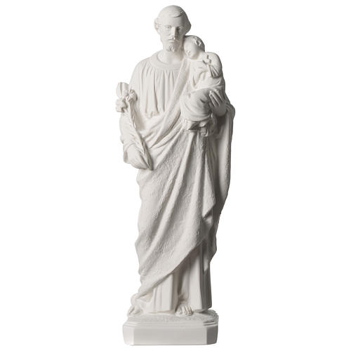 Saint Joseph white marble statue 19.5 inches 1