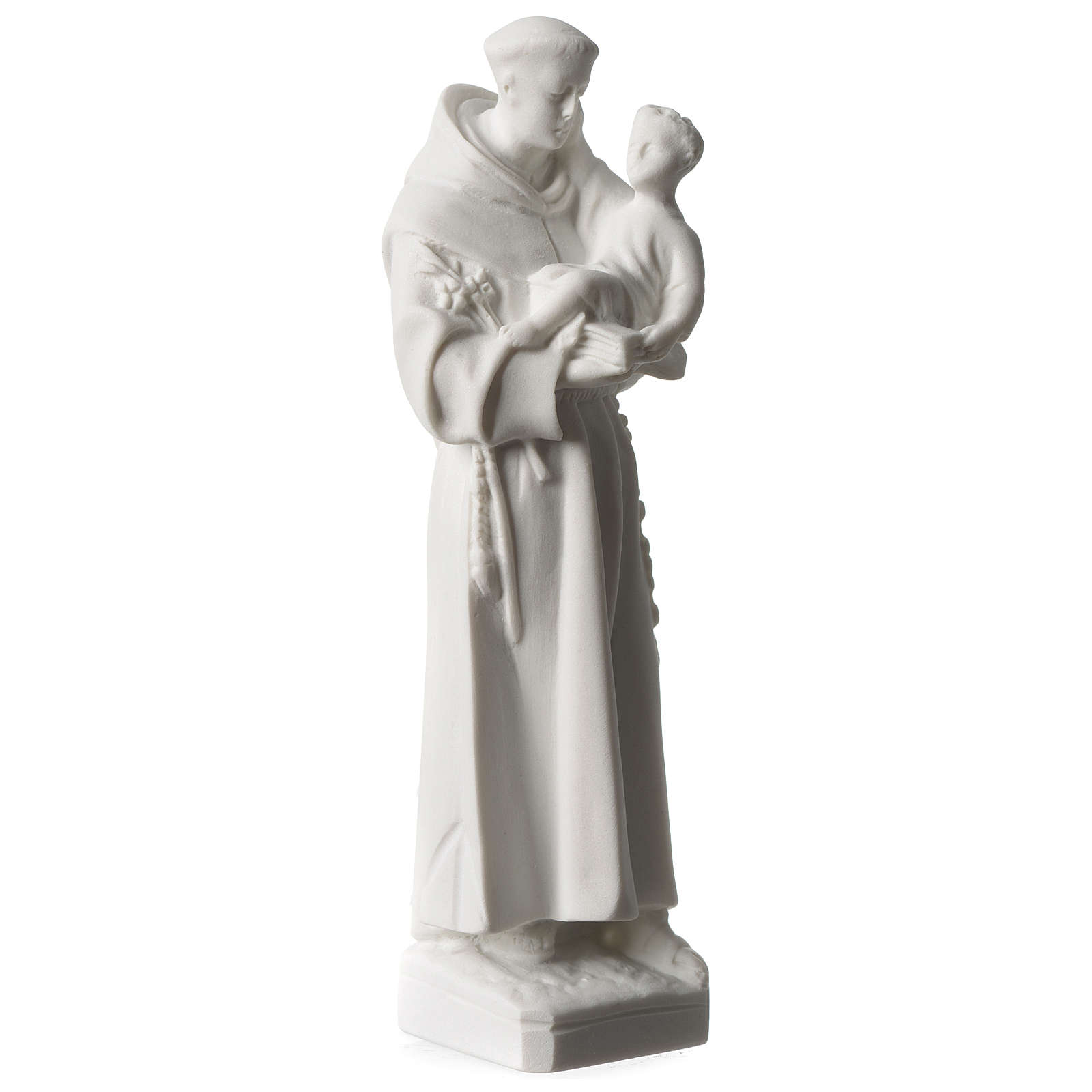 Saint Anthony of Padua in white Carrara marble dust sized 20 cm 4