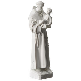 Saint Anthony of Padua in white Carrara marble dust sized 20 cm s2
