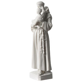 Saint Anthony of Padua in white Carrara marble dust sized 20 cm s3