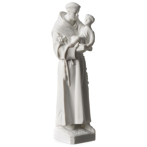 Saint Anthony of Padua in white Carrara marble dust sized 20 cm 2
