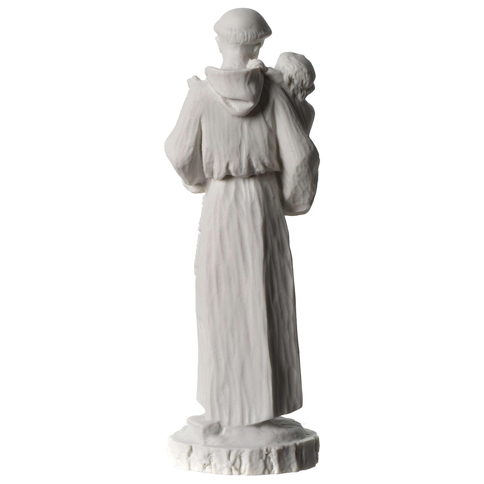 Sant'Antonio da Padova marmo bianco 24 cm 4