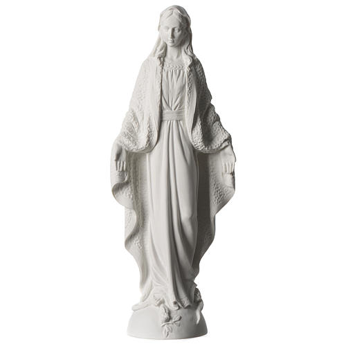 Our Lady of Miracles statue in white marble dust 45 cm 1