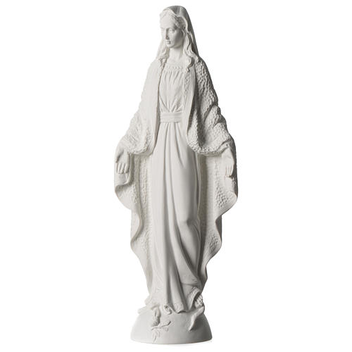 Our Lady of Miracles statue in white marble dust 45 cm 3