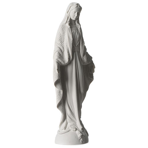 Our Lady of Miracles statue in white marble dust 45 cm 4