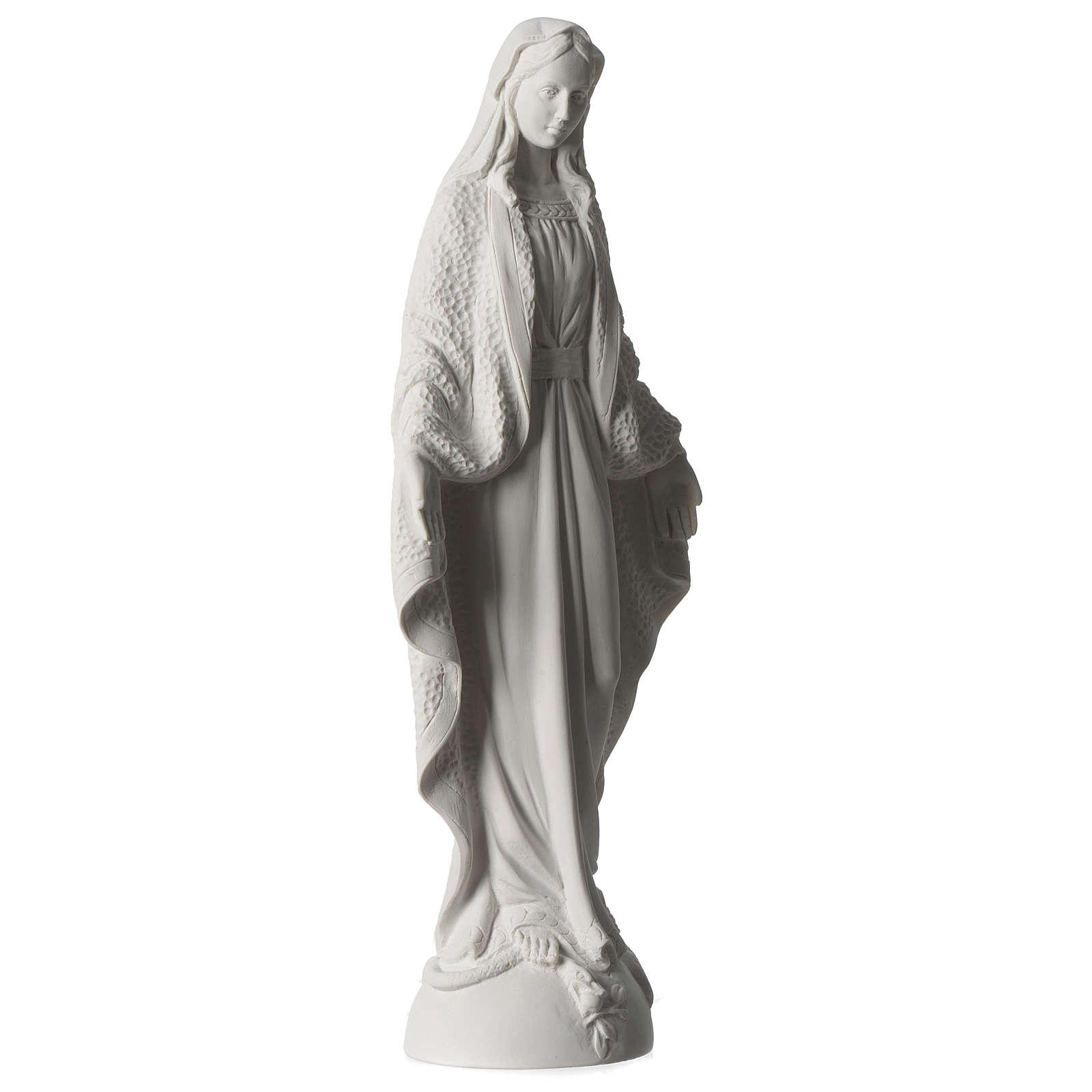 Estatua Virgen Milagrosa polvo de mármol blanco 45 cm 4