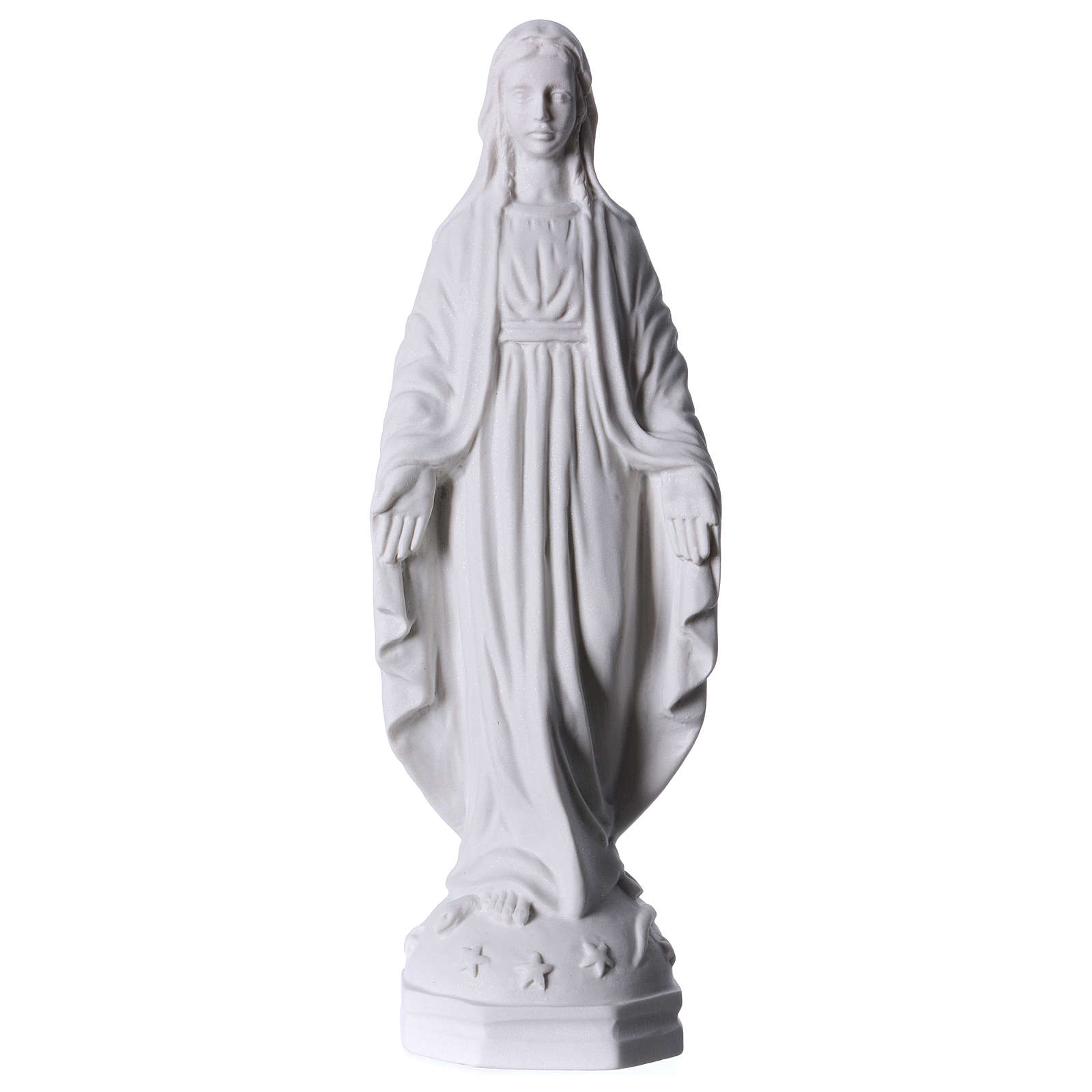 Madonna Miracolosa polvere di marmo bianco Carrara 30 cm 4