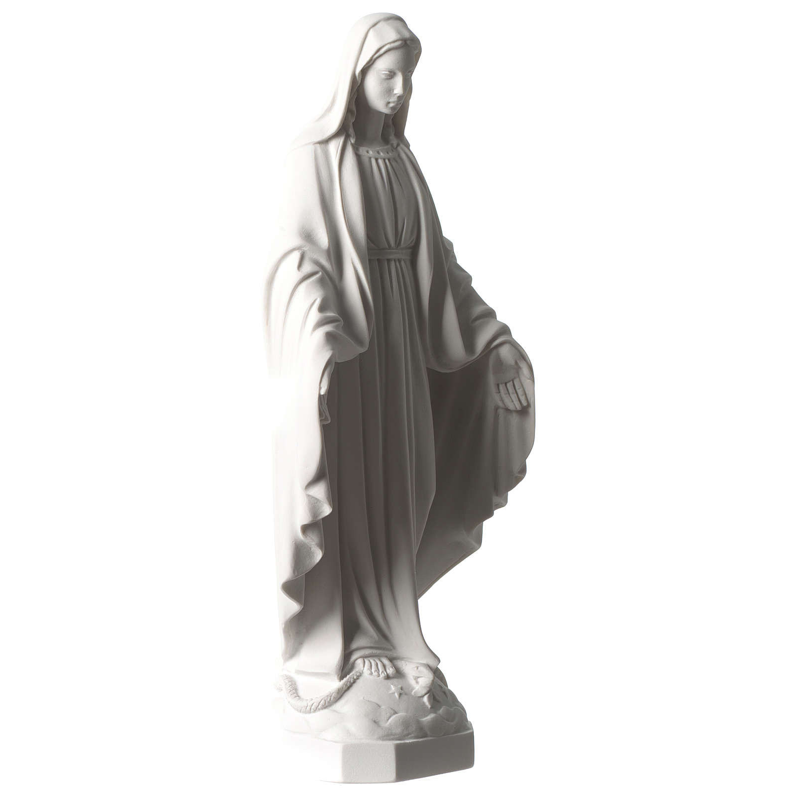 Our Lady of Miracles statue 35 cm in synthetic white Carrara marble dust 4