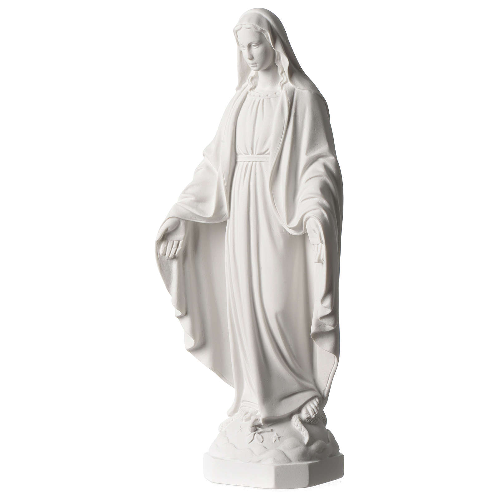 Virgen Milagrosa mármol sintético blanco Carrara 35 cm 4