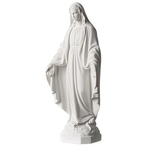 Virgen Milagrosa mármol sintético blanco Carrara 35 cm 3
