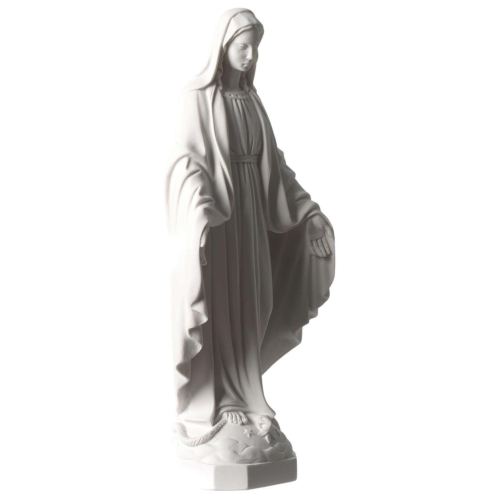 Vierge Miraculeuse marbre synthétique blanc Carrare 35 cm 4