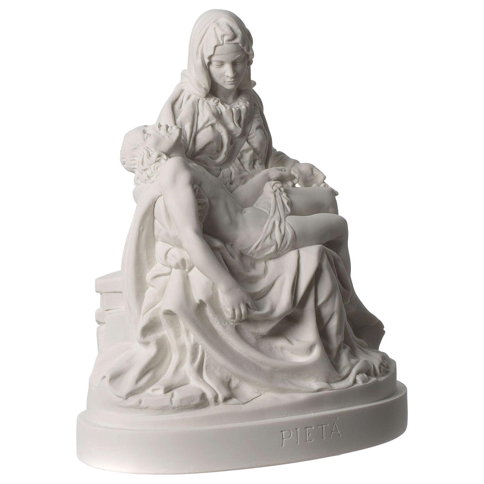 Statua Pietà di Michelangelo marmo sintetico bianco 25 cm 4