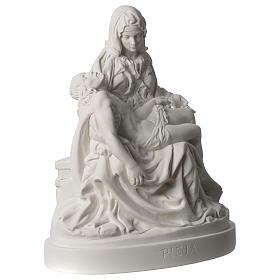 Statua Pietà di Michelangelo marmo sintetico bianco 25 cm s4