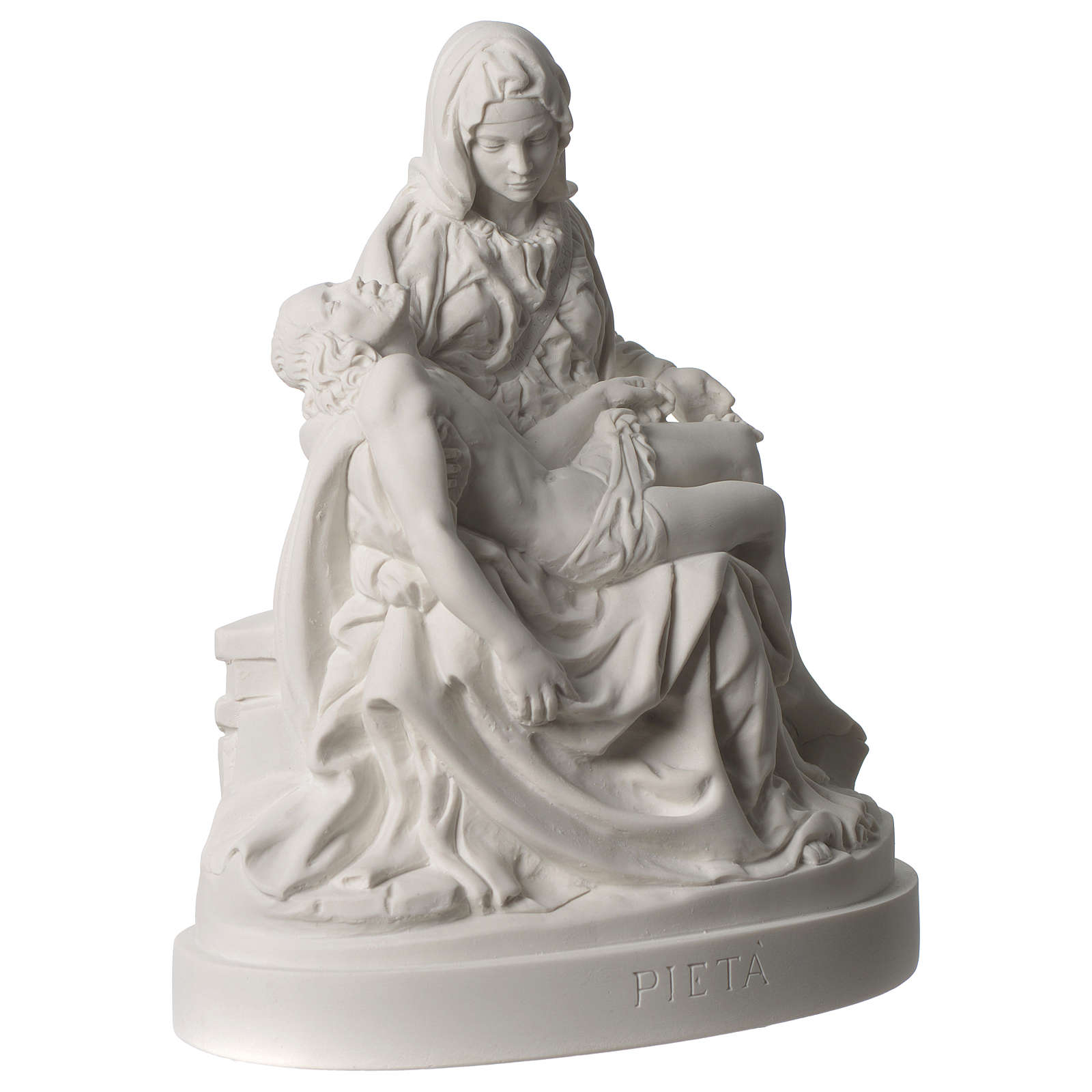 Pieta of Michelangelo white composite marble statue 10 inc 4