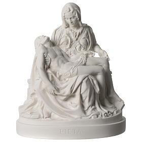 Pieta of Michelangelo white composite marble statue 10 inc s1