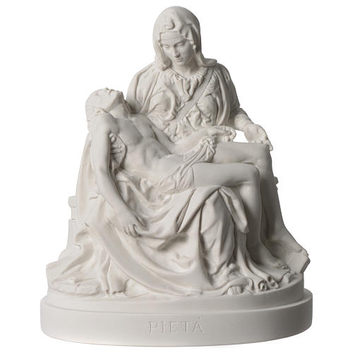 Pieta of Michelangelo white composite marble statue 10 inc 1