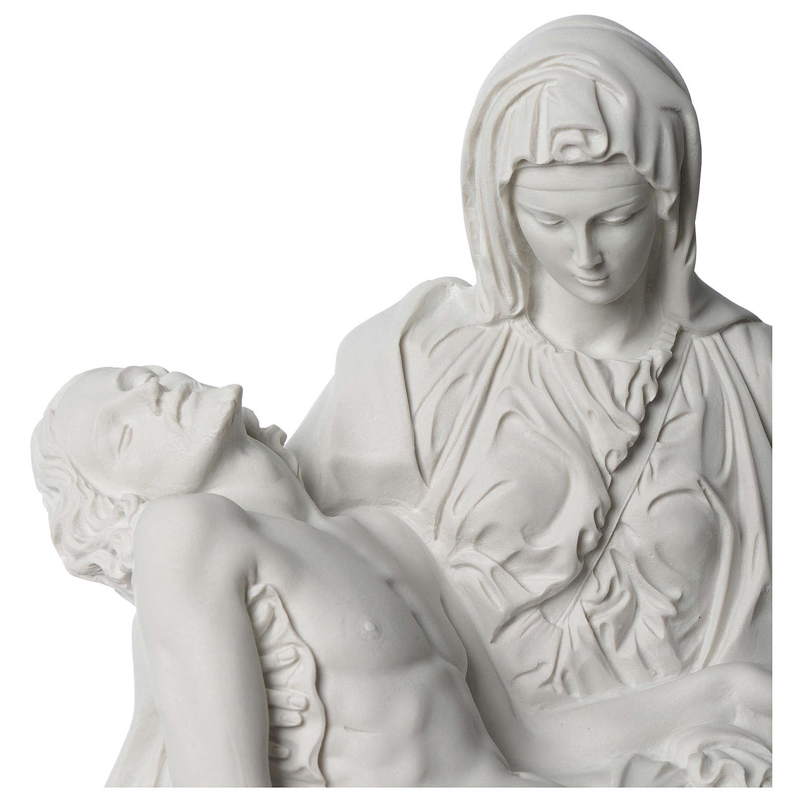 Statua Pietà di Michelangelo marmo sintetico bianco 40 cm 4