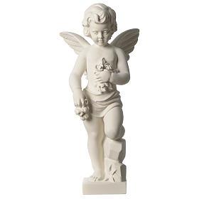 Ange avec fleurs marbre synthétique 45 cm s1