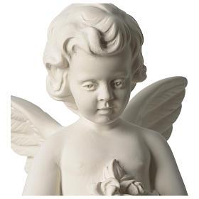 Ange avec fleurs marbre synthétique 45 cm s2