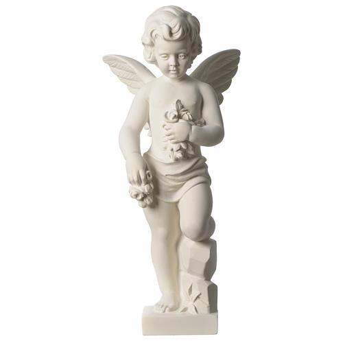 Ange avec fleurs marbre synthétique 45 cm 1