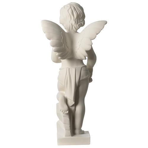 Ange avec fleurs marbre synthétique 45 cm 5