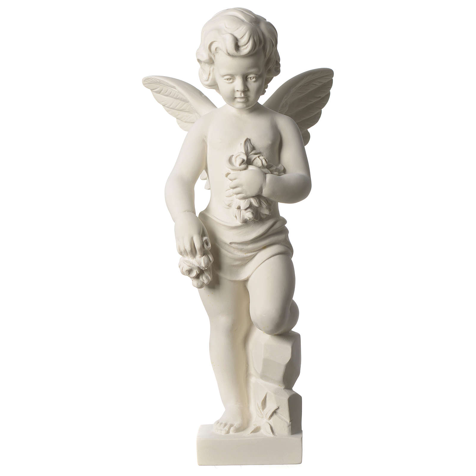 Angel throwing flowers white composite marble statue 17.5 inc 4