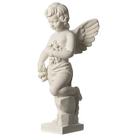 Angel throwing flowers white composite marble statue 17.5 inc s4