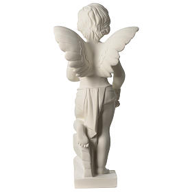 Angel throwing flowers white composite marble statue 17.5 inc s5