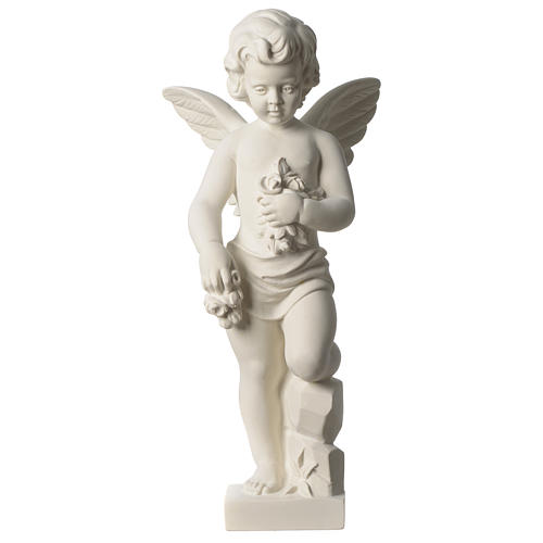 Angel throwing flowers white composite marble statue 17.5 inc 1