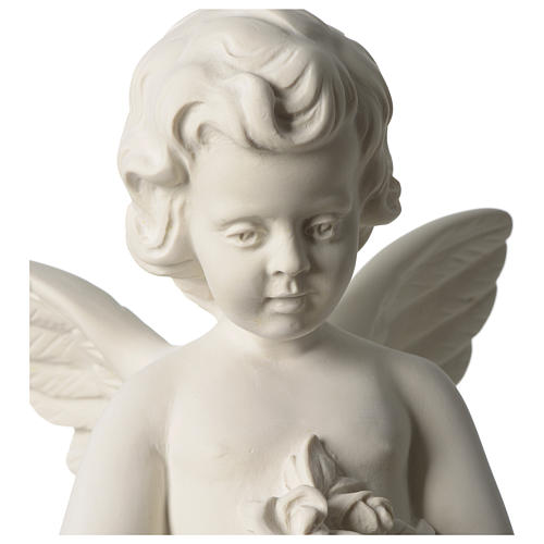 Angel throwing flowers white composite marble statue 17.5 inc 2